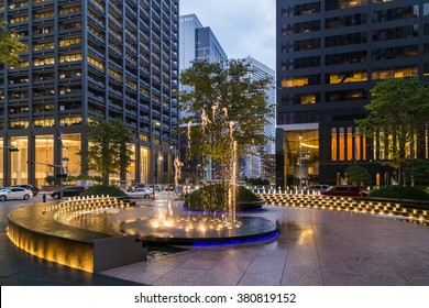 Fountain with lights and illumination in Downtown Houston, Texas