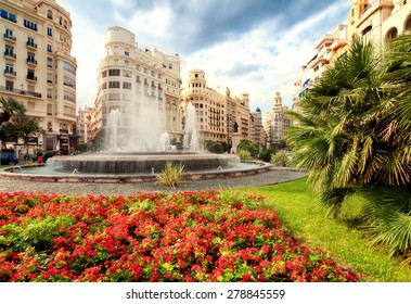 Fountain in main square, Valencia, Spain