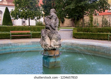 Fountain in Mikulov Castle in the town of Mikulov in South Moravia, Czech Republic
