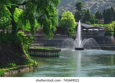 A Fountain in Nanzen-ji boat dock of Lake Biwa Canal, Kyoto, Japan.