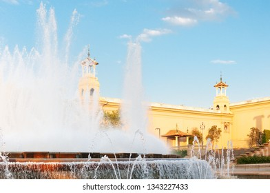 Fountain near Museum in Barcelona, Spain.