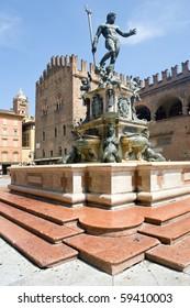 Fountain of Neptune in Bologna. Italy