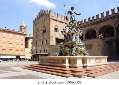 Fountain of Neptune in Bologna. Italy.