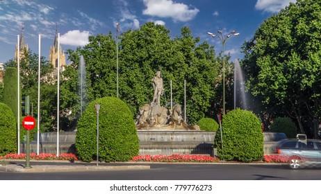 Fountain of Neptune (Fuente de Neptuno) timelapse hyperlapse, a neoclassical monument designed in 1777 at the center of the Canovas del Castillo square in Madrid, Spain. 4K