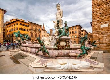 Fountain Neptune in Piazza della Signoria in Florence, Italy. Florence famous fountain. Famous architecture of the Renaissance in Florence center.
