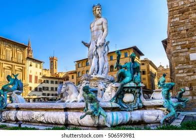 Fountain Neptune in Piazza della Signoria in Florence, Italy. Florence famous fountain. Florence architecture. One of the main landmarks in Florence.