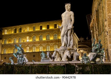 Fountain of Neptune in Piazza della Signoria in Florence photographed at night