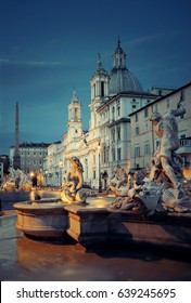 Fountain of Neptune in Piazza Navona in Rome, Italy.