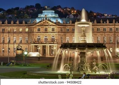 """Fountain at """"Neues Schloss"""" Stuttgart, Germany"""