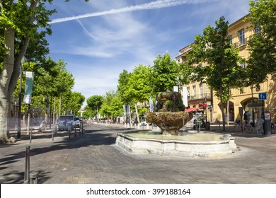 Fountain of nine guns in the Cours Mirabeau of Aix en Provence