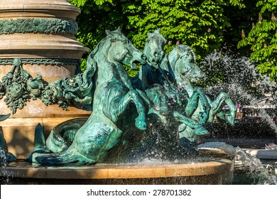 "Fountain of Observatory or Four continents (""La fontaine de l'Observatoire"", sculpture by Jean-Baptiste Carpeaux, 1874), in Jardin Marco Polo, south of Jardin du Luxembourg in Paris, France."