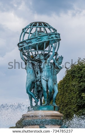 Fountain Observatory Four Continents La Fontaine Stock Photo (Edit ...