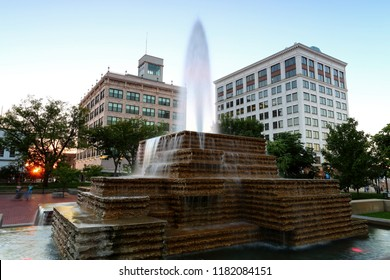 fountain and office buildings on the square in Springfield Missouri