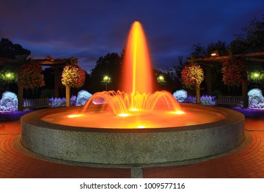 The fountain at Oglebay Park, West Virginia at twilight.