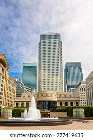 Fountain on Cabot Square in Canary Wharf business district - London