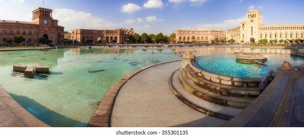 The fountain on a central square of the city of Yerevan in Armenia