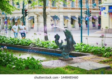 Fountain on Esplanadi street in Helsinki, Finland