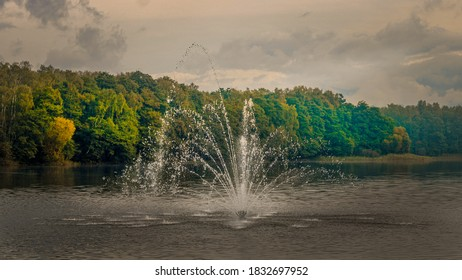 fountain on the lake in gdansk stogi