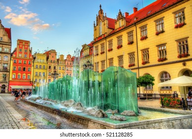 Fountain on the Market Square of Wroclaw in Poland