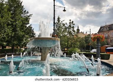 Fountain on Piac - Market street in Debrecen. Hungary
