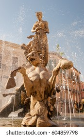 The fountain on the square Archimedes in Syracuse. Sicily, Italy