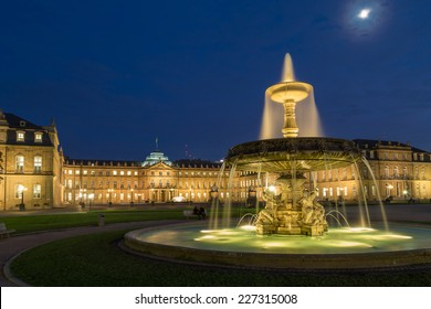 Fountain on square Schlossplatz in center of Stuttgart, Germany
