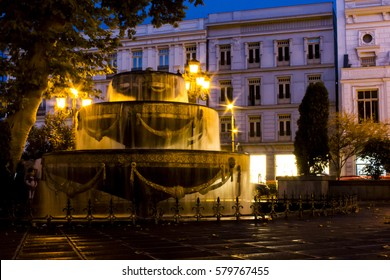 Fountain on the Square in Tbilisi at night. Georgia country