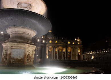 Fountain on St. Peter's Square with St. Peter's Basilica in the background