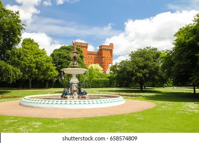 Fountain and park in an English town