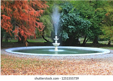 Fountain in the park in the fall,Gagra,Abkhazia