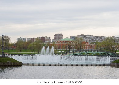 Fountain in the park of the river