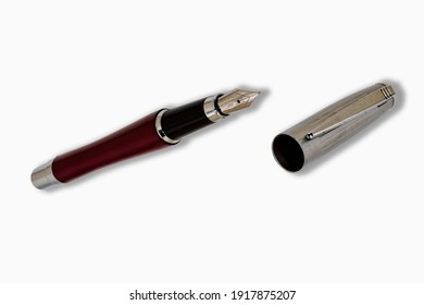Fountain pen with cap isolated on white