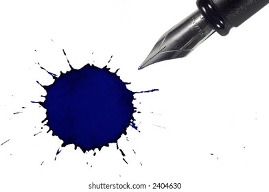 Fountain pen and ink blot below. Isolated on white background