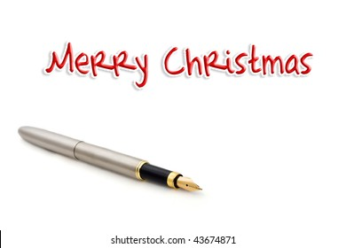Fountain pen isolated on white with text
