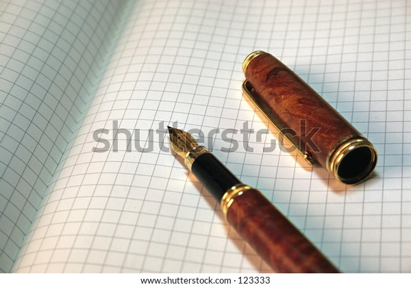 Fountain pen on blank pages. Large photo file.