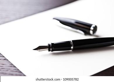 fountain pen on table