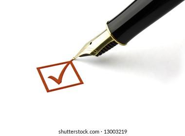 Fountain pen ticking a check box
