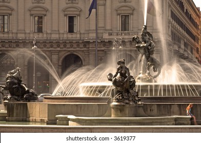 Fountain At Piazza Della Repubblica, Rome, Italy