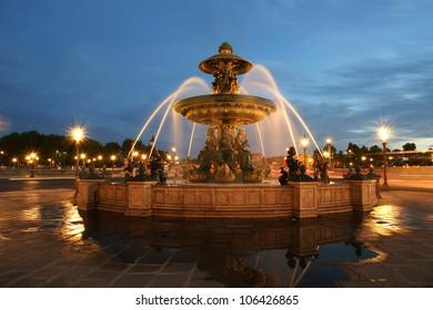 Fountain at the Place de la Concorde in Paris by night, France