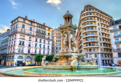 Fountain at Place des Jacobins in Lyon - Auvergne-Rhone-Alpes, France