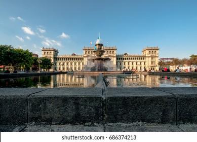 Fountain in  plaza of the constitution Guatemala City.(Palacio nacional)