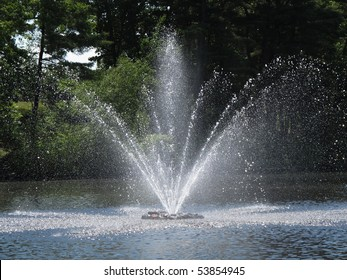 fountain in pond