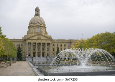 Fountain and reflecting pond in front of the Alberta Legislature building.