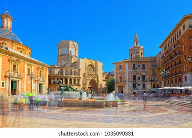 Fountain Rio Turia on Square of the Virgin Saint Mary, Valencia Cathedral, Basilica of Virgen the Helpless.