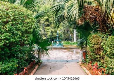 Fountain At Saheliyon Ki Bari (Garden Of The Maidens) In Udaipur, India