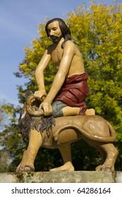"fountain ""Samson with Lion"" in Kiev, Ukraine"