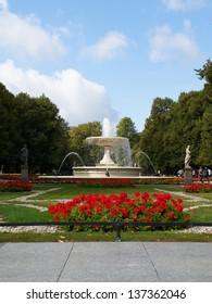 Fountain in the Saski Park in Warsaw, Poland