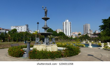 Fountain in Senador Jefferson Peres Park, Manaus.  Amazonas, Brazil