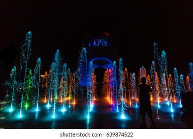 Fountain show at the Monument to the Mexican Revolution (Monumento a la Revolución) located in Republic Square, Mexico City at night