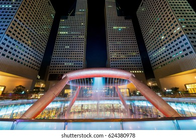 Fountain show at Fountain of Wealth Suntec Tower in Singapore. Fountain of Wealth is biggest fountain in Singapore.